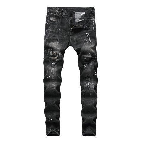 Yeni en çok satan İnce Dip Pantolon ve Doğrudan Satış için Sıkı Jeans giymek Erkekler için Kanye Stretch Delik Pantolon Katlanmış