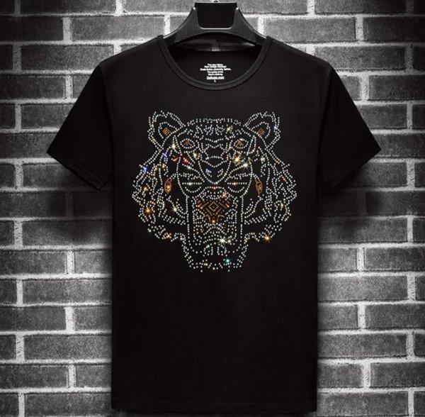 Mens Tiger Printed Tshirts Summer Head Rhinestone Design Short Sleeved Tees
