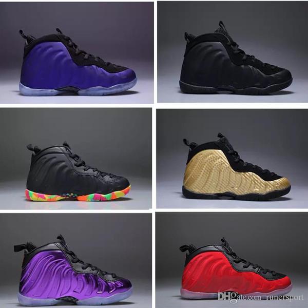 Yeni varış Çocuklar Basketbol Ayakkabı Legion Hava Patlıcan Penny Hardaway Çocuk Parlaklık Ada Yeşil Ayakkabı spor eğitmeni Erkek Sneakers