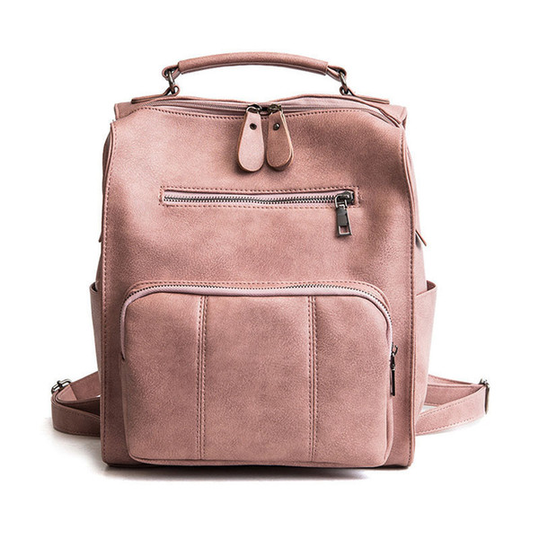 good quality 2019 Women Small Backpack Pu Leather Solid Big Capacity Backpack  Cute School Bags Girls