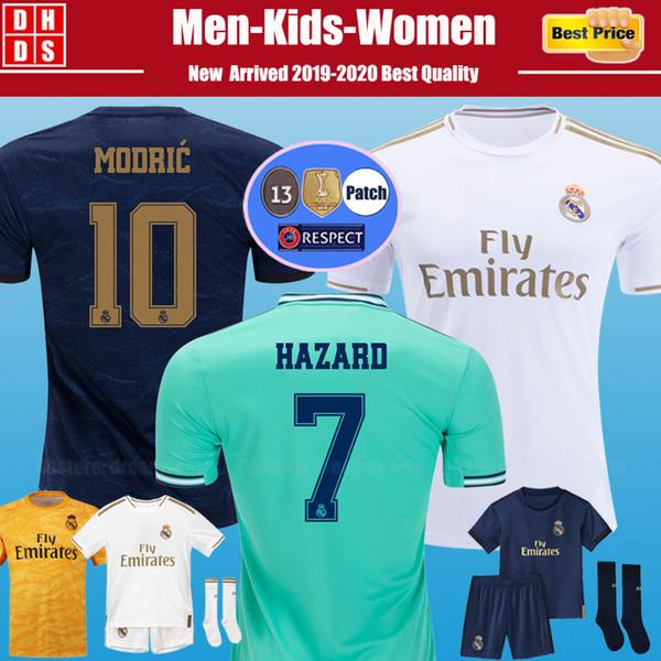 2019 2020 Maillot de Foot Real Madrid 19 20 Hazard Soccer Jerseys DANGER MILITAO camiseta de football classique BALE SERGIO RAMOS ASENSIO maillots de football enfants camisa Kids