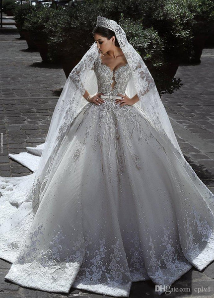Vintage Luxury Ball Gown Long Sleeve Lace African Plus Size Muslim Wedding Dress With Veil Beads Beach Zuhair Murad Bridal Gowns H027