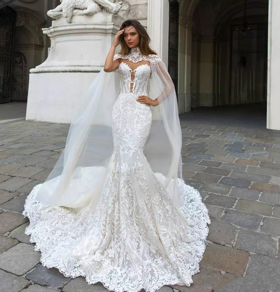 Modest Sexy Mermaid Wedding Dresses Lace Trumpet Bridal Gowns Sheer Neck Beach Plus Size Wedding Dress Cowl Backs Cheap Ball Gown Casual Wedding