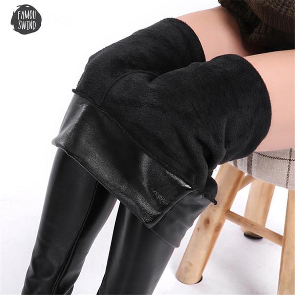 5Xl Size Velvet Leather Legging Warm Winter Plus Women Faux Leather Leggin Long High Waist Slim Women