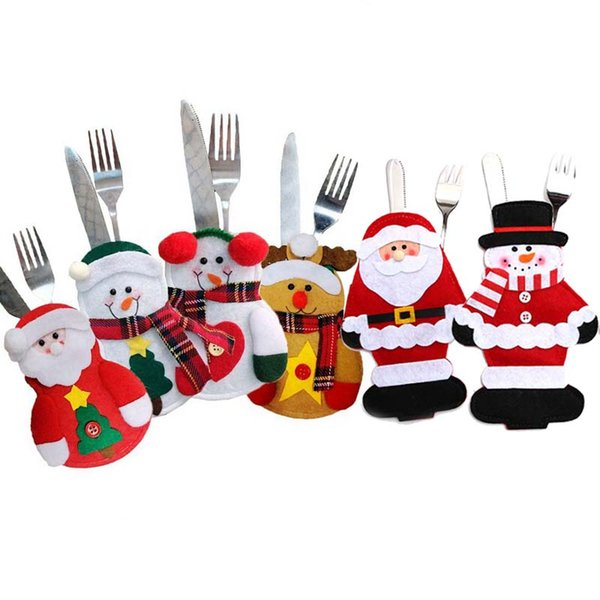 Cheap Gift Bags & Wrapping Supplies Cutlery Bag Holder Spoon Knife Fork Cover Santa Claus Snowman Elk Style Utensil Pouch Christmas New