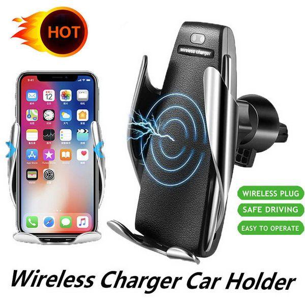 S5 automatique Chargeur sans fil de serrage Support voiture pour iPhone XR Samsung S10 Air Vent Phone Holder 360 degrés de rotation de charge Support de montage