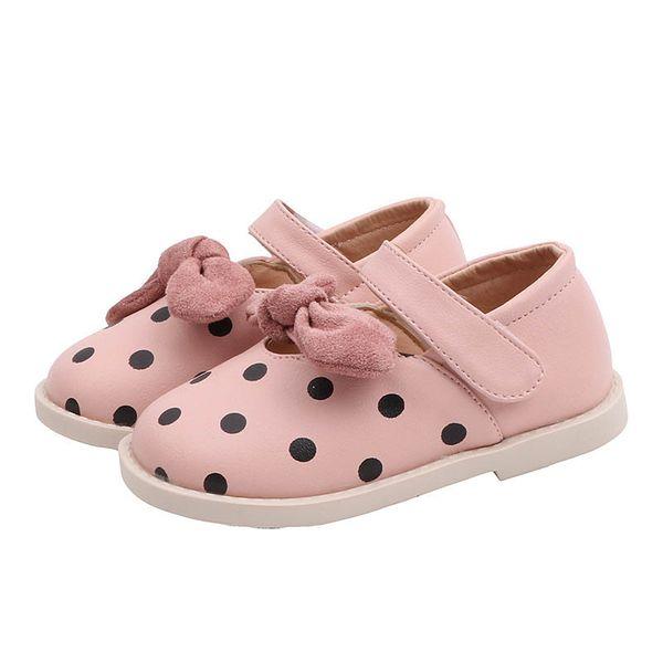 Nouveaux enfants chaussures enfants chaussures de design chaussures filles chaussures points arcs princesse casual chaussures pu en cuir robe chaussure filles chaussures détail A7574