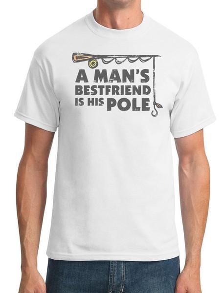 Un meilleur ami du Mans est son pôle Funny Fishing T-shirt homme blanc noir gris pantalon rouge