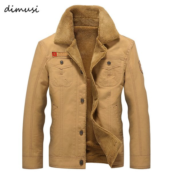 DIMUSI Hombres chaqueta de bombardero invierno de los abrigos chaquetas militar masculino cuello de la piel Jaqueta Masculina Moda Denim Jacket para hombre abrigos, TA215MX190926