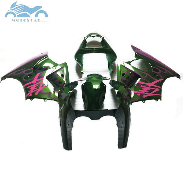 Бесплатно Настроить обтекатель для KAWASAKI ниндзя 2000 2001 2002 ZX6R зеленый фиолетовыйZX 6R 00-02 обтекатель кузова