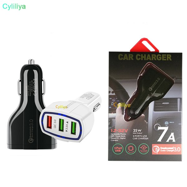 Cell Phone Car Charger 3 USB QC3.0 Fast Charge Adapter Smart Charger 12V 3.1A For iPhone Android Samsung Smartphones With Retail