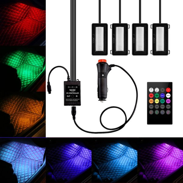 4 in 1 LED Car Colorful Interior Atmosphere Light Auto Voice Control RC Controls RGB Floor Foot Decal Strip Lamp