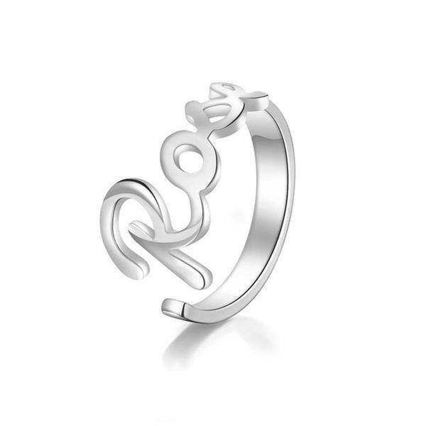 RIR персонализируйте свое имя смелое модное кольцо женщины регулируемое кольцо пользовательское имя персонализированные ювелирные изделия прекрасные кольца серебро