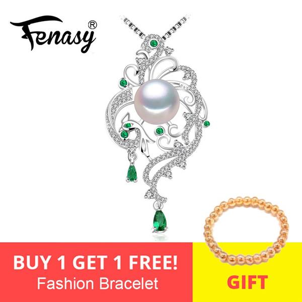 FENASY 925 collar de plata de Phoenix para las mujeres, Collar llamativo, collares colgantes de Bohemia con la cadena de joyería nupcial