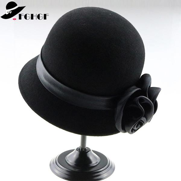 53a23792d 2019 Vintage Black Wool Felt Cloche Hat With Double Flower Wide Brim Bowler  Winter Fedoras Elegant Ladies Floppy Hat Cap From Naughtie, $31.39 | ...