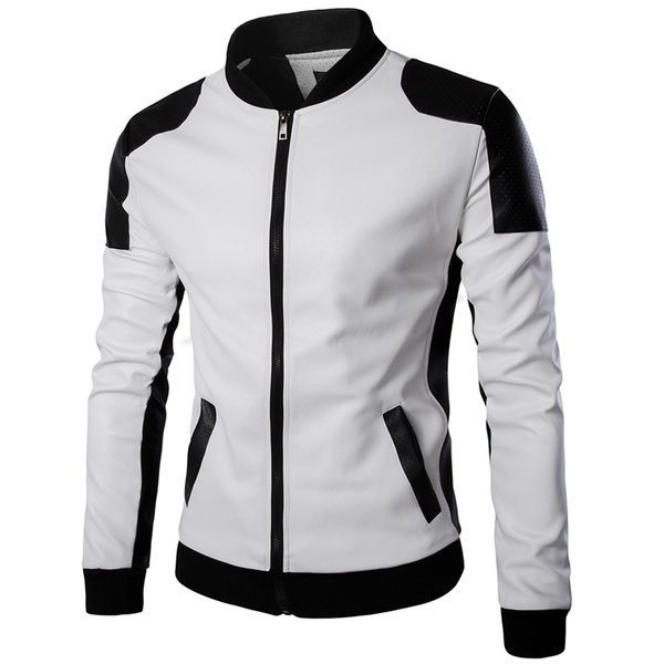 New spring men's stand collar leather trend black and white color matching super large size leather coat