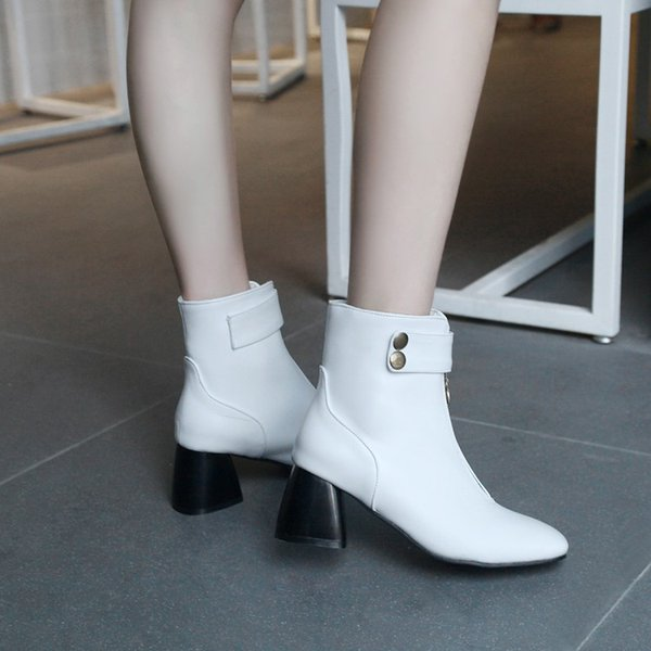big size 9 10 11 12 boots women shoes ankle boots for women ladies shoes woman winter decorative metal rivet chain - from $71.93