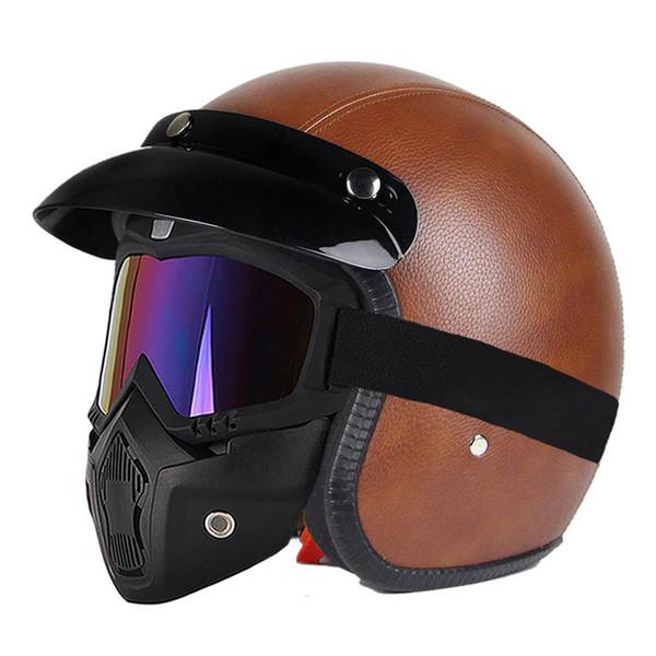 Motorcycle Helmet 3/4 Open Face Helmet Leather Assembly Visor Moto Retro Vintage Chopper Crash Hemelt Cafe Racer Moto