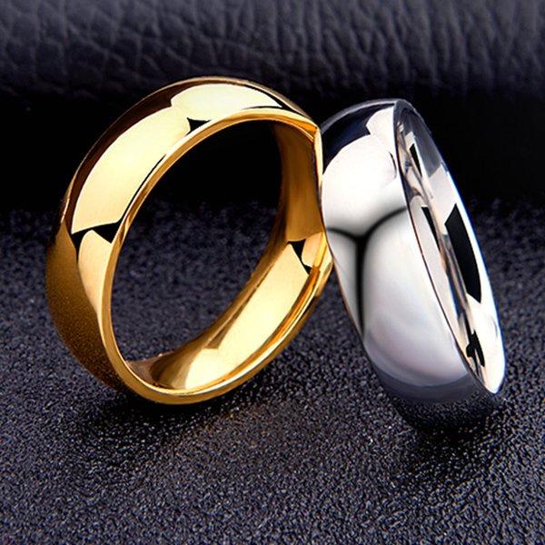 6mm titanium ring plain dome hochglanzpoliert hochzeit band ring comfort fit für männer frauen größe 5-13 (gold silber)