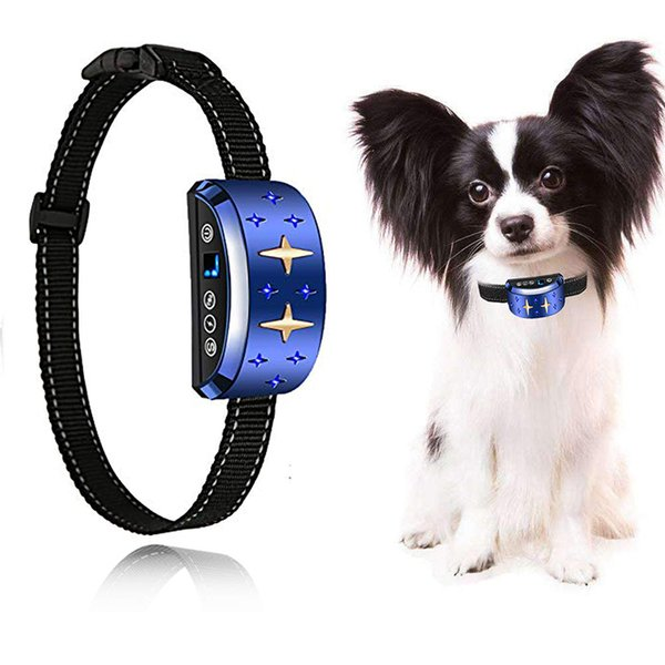 Waterproof rechargeable dog collar, dog training collar with 7 progressive training levels intelligent anti-bark tie sound and vibration