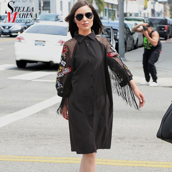Yeni 2019 Kadın Siyah Gömlek Elbise 3/4 Örgü Kollu Nakış Yamalar Sashes Lady Sevimli Midi Parti Kulübü Elbise Vestidos 3398 T190410 Giymek