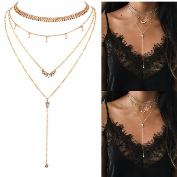 Necklaces Girlfriend Gift Bohemia Dress Accessories Chokers Wedding Party Event Multi-layer Necklace Sliver Golden Plated Pendants Jewelry