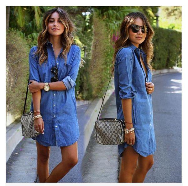 Camicia di jeans da donna Camicia a maniche lunghe allentata casual Abiti da donna Camicia di jeans con risvolto