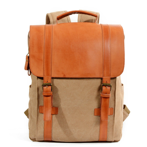 """Womens Waxed Leather Canvas Backpack Vintage Travel Rucksack School Backpack 15.6"""" Laptop Bag Free Shipping"""