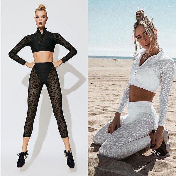 2PCS Women Yoga Set High Waist Gym Fitness Clothing Leopard Print Lace Running Sportswear Long Sleeve Leggings Yoga Wear #908183