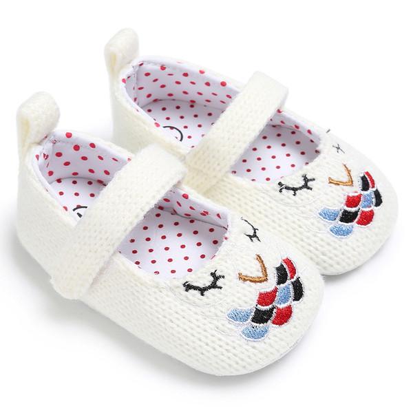 2 renkler yeni gelenler Yumuşak alt kaymaz bebek İlk Walkers Örme Nakış Çiçek Kız bebek İlk Walkers ayakkabı