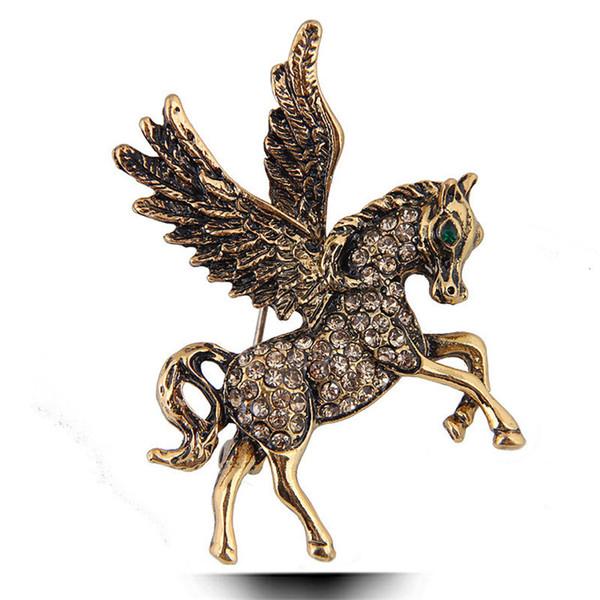 New European and America Shiny Rhinestone Broches de broche de caballo Ropa de traje de fiesta Broches de cristal Regalo Moda Señora Mujeres Joyería Accesorios