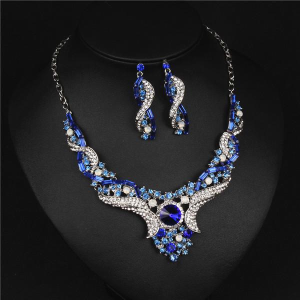 Shinning Mavi Çiçek Gelin Takı 2 Parça Setleri Kolye Küpe Gelin Takı Gelin Aksesuarları Düğün Takı T221230