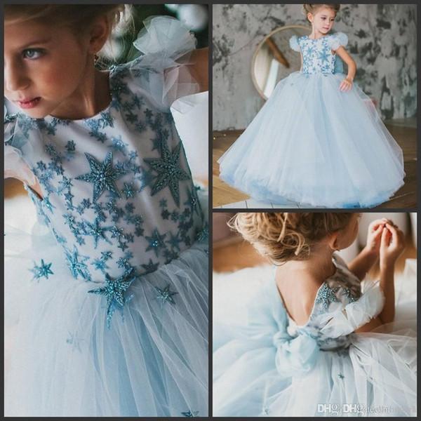 Дети Небесно-Голубой Тюль Бальное платье платья для девочек, первый день рождения первого причастия платья принцессы камуфляж платья девушки цветка