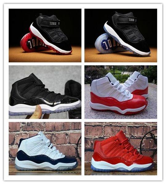 best selling 2019 Big boy shoes Kids 11 mens Basketball shoes 11s Blackout xi Win Like 96 UNC Win Like Heiress Black Stingray Kids Sneaker Shoes