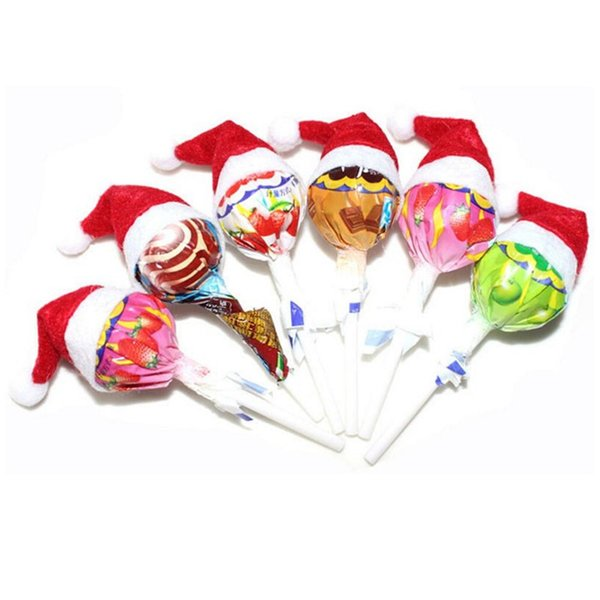 Mini Red Santa Claus Candy Hat for Candy Lollipop Decor New YEAR Cute DIY Christmas Xmas Gift Lollipop Top Topper Cover Festival Decoration