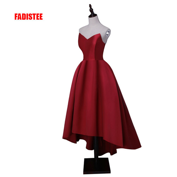 Fadistee Hot Sale Party Prom Dress Vestido De Festa Sweetheart Neck High-low Satin Lace-up Back Simple Style Gown Q190428