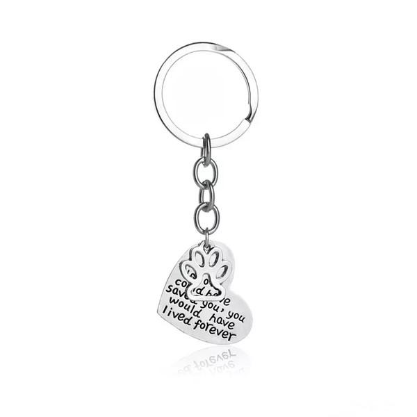 Petali commemorativi per gioielli fatti a mano con impronta a mano 'Se l'amore avrebbe potuto salvarti Avresti vissuto Foever' Cuore Paw Stampa Portachiavi Portachiavi