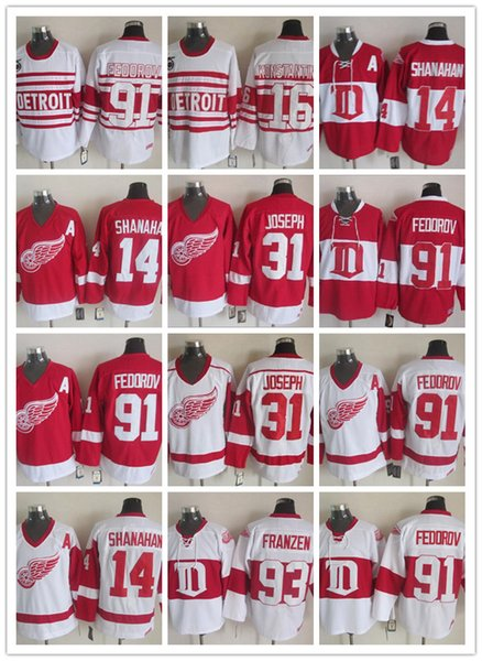 Detroit Red Wings 91 Сергей Федоров Красный Белый Мужчины НХЛ Джерси 31 Кертис Джозеф CCM Vintage 14 Шэнахэн Хоккей Джерси