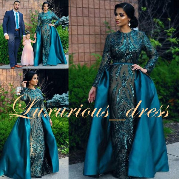 Arabic Dubai Style Green Mermaid Prom Dresses Long 2019 Sparkly Sequin Long Sleeve Formal Evening Gowns With Watteau Train robe de soiree