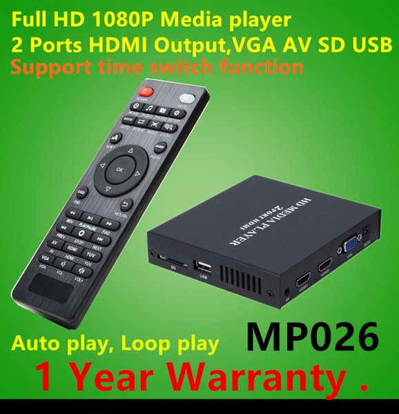 1080P Full HD Media Player With Dual HDMI Output Support MKV MP4 Multimedia Player Autoplay Video Advertising Player