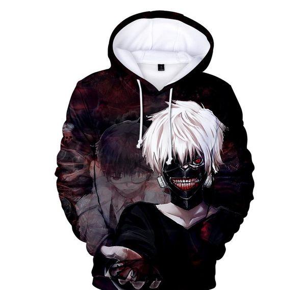 Homens Mulheres Pullover Hoodies Tokyo Ghoul 3D Digital Imprimir moletom com capuz Amantes Casual Wear solta camisola Moda machos TopXXLkenzoo