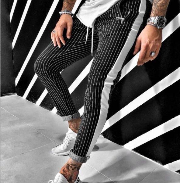 Mens-Sommer-Hosen-beiläufige lose Taschen Gestreifte Hosen dünne Hose Männliche Rüttler mit 2 Farben asiatische Größe M-2XL