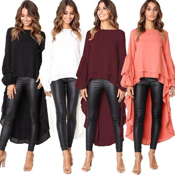 Women's Long Bell Sleeve Ruffles Asymmetrical Hem Loose Casual Tops Shirt Blouse Fashion Blouses Women Autumn Clothing