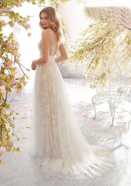 Wedding dress sexy deep V sleeveless lace wedding dress multi-layer embroidery printing catwalk party dress angel skirt sequins Moppingskirt
