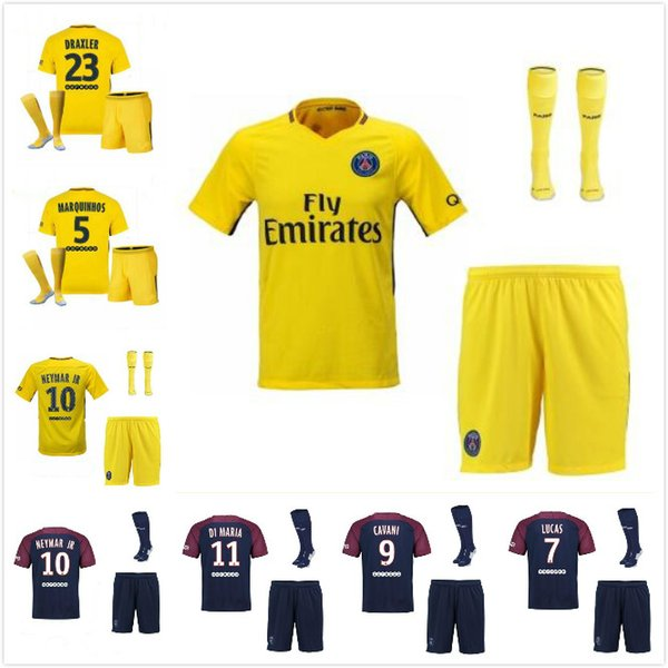 Adult KIT 17 18 Paris MBAPPE kit soccer jersey MBAPPE VERRATTI CAVANI DI MARIA Paris 2018 psg Soccer Jersey Maillot De Foot man shirt SHORT