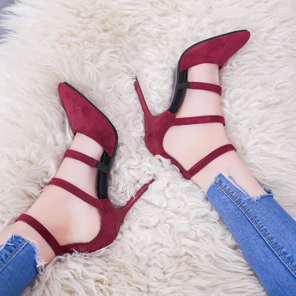 2019 Women's high heels 2018 new stiletto pointed high heels wild summer fashion black single shoes