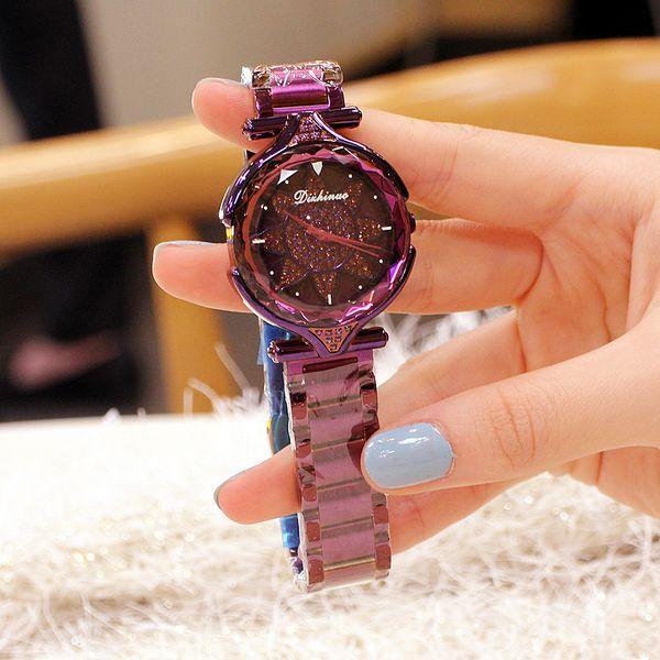 Montre de luxe en cristal pour femmes avec ceinture en acier et or Roma Dail Diamond Bracelet Montre polygone cadeau