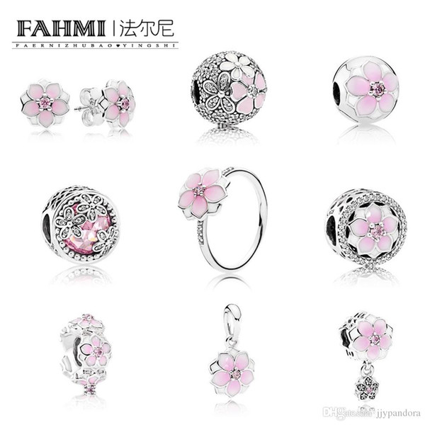 FAHMI 100% 925 Sterling Silver Charm BLOOM RING MAGNOLIA EARRING STUDS Bloom SPACER HANGING Charm Magnolia Bloom, Pale Cerise , Pink