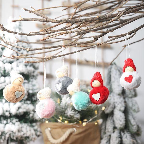 Cute Snowman Plush Doll Christmas Pendant Fur Ball Christmas Tree Decoration Window Display Hanging Ornaments Kids Xmas Gift Toy