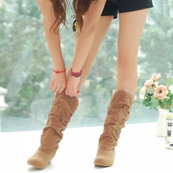Yeni moda Kadın Boots bahar Kış siyah ve kahverengi Boots moda ayakkabılar kalite süet uzun Boots kadınlar ayakkabı yassı